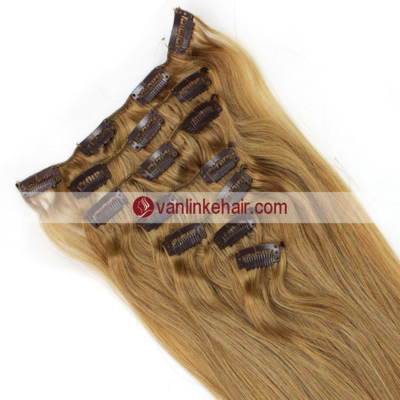 7PCS Full Head Clips on/in Remy Human Hair Extensions Straight Dark Honey Blonde(16#) - VANLINKE HUMAN HAIR EXTENSIONS