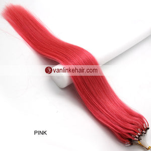 18inches 100s Easy Loop/Micro Ring Beads Tip Remy Human Hair Extensions Straight #Pink - VANLINKE HUMAN HAIR EXTENSIONS