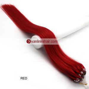 16-22inches 100s Easy Loop/Micro Ring Beads Tip Remy Human Hair Extensions Straight #Red - VANLINKE HUMAN HAIR EXTENSIONS