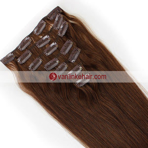 7PCS Full Head Clips on/in Remy Human Hair Extensions Straight Dark Chocolate Brown(6#) - VANLINKE HUMAN HAIR EXTENSIONS