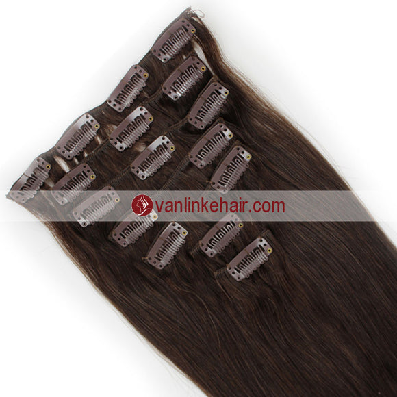 7PCS Full Head Clips on/in Remy Human Hair Extensions Straight Medium Brown(4#) - VANLINKE HUMAN HAIR EXTENSIONS