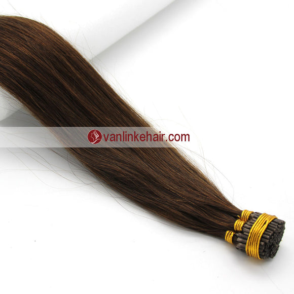 16-24Inches 100s Keratin Stick I Tip Human Hair Extensions Straight Medium Brown(4#) - VANLINKE HUMAN HAIR EXTENSIONS
