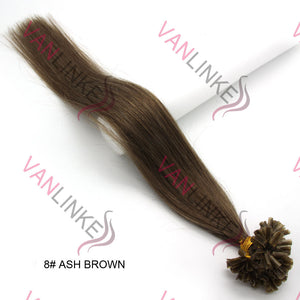 16-22Inches 100s Pre Bonded Nail U Tip Remy Human Hair Extensions Straight #8 Ash Brown - VANLINKE HUMAN HAIR EXTENSIONS