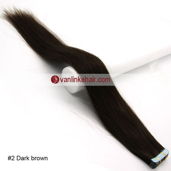 20pcs PU Seamless Skin Tape In Remy Human Hair Extensions Straight Dark Brown(2#) - VANLINKE HUMAN HAIR EXTENSIONS