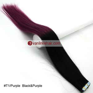 20pcs PU Seamless Skin Tape In Ombre Remy Human Hair Extensions Straight T1/Purple - VANLINKE HUMAN HAIR EXTENSIONS
