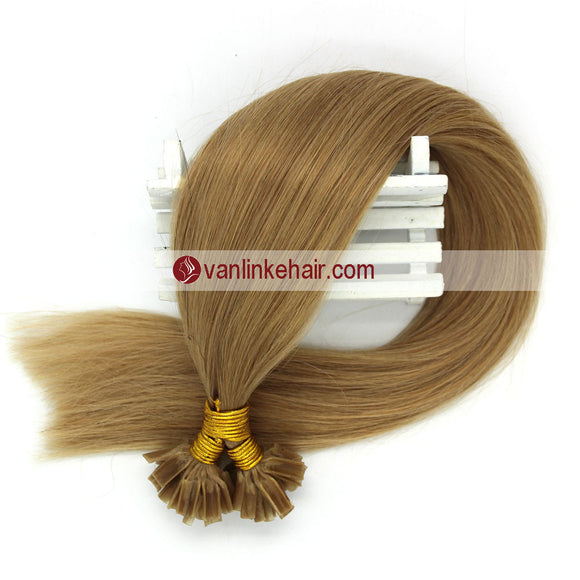 16-22Inches 50s 1g/s Pre Bonded Nail U Tip Remy Human Hair Extensions Straight Dark Blonde(27#) - VANLINKE HUMAN HAIR EXTENSIONS