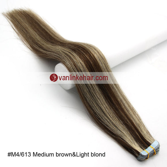 20pcs PU Seamless Skin Tape In Remy Human Hair Extensions Straight Medium Brown/Light Blonde(4/613#) - VANLINKE HUMAN HAIR EXTENSIONS