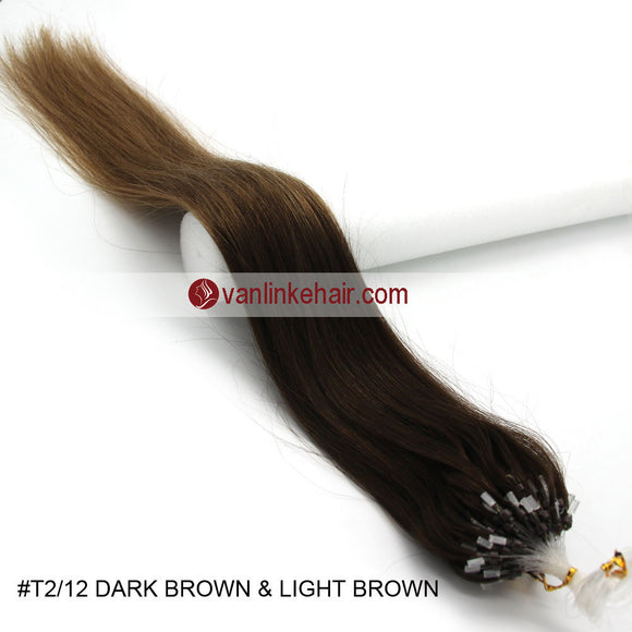 16-26inches 100s Easy Loop/Micro Ring Beads Tip Remy Human Hair Extensions Straight #T2/12 - VANLINKE HUMAN HAIR EXTENSIONS