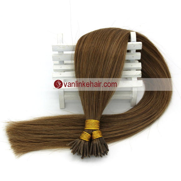 16-22inches 50s 1g/s Keratin Stick I Tip Human Hair Extensions Straight Light Brown(12#) - VANLINKE HUMAN HAIR EXTENSIONS