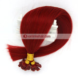 16-22Inches 50s 1g/s Pre Bonded Nail U Tip Remy Human Hair Extensions Straight Red - VANLINKE HUMAN HAIR EXTENSIONS