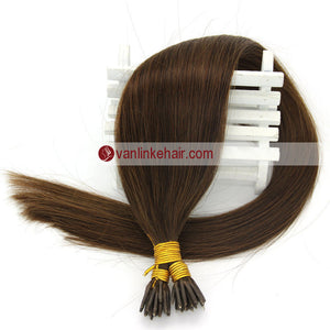 16-22Inches 50s 1g/s Keratin Stick I Tip Human Hair Extensions Straight Medium Brown(4#) - VANLINKE HUMAN HAIR EXTENSIONS