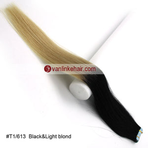 20pcs PU Seamless Skin Tape In Weft Ombre Remy Human Hair Extensions Straight T1/613 - VANLINKE HUMAN HAIR EXTENSIONS