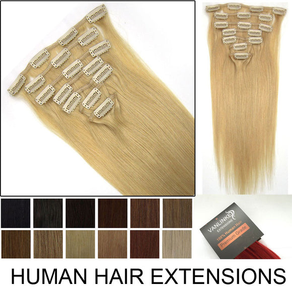 26/28 inches Clips on/in Remy Human Hair Extensions 120g/set Silky Straight