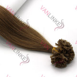 16-26Inches 100s Pre Bonded Nail U Tip Remy Human Hair Extensions Straight Light Brown(12#) - VANLINKE HUMAN HAIR EXTENSIONS