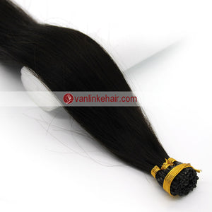 16-24Inches 100s Keratin Stick I Tip Human Hair Extensions Straight Natural Black Kinda Brown (1B#) - VANLINKE HUMAN HAIR EXTENSIONS
