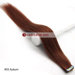 Tape in human hair extensions vanlinke human hair extensions 20pcs pu seamless skin tape in remy human hair extensions straight dark auburn33 pmusecretfo Choice Image