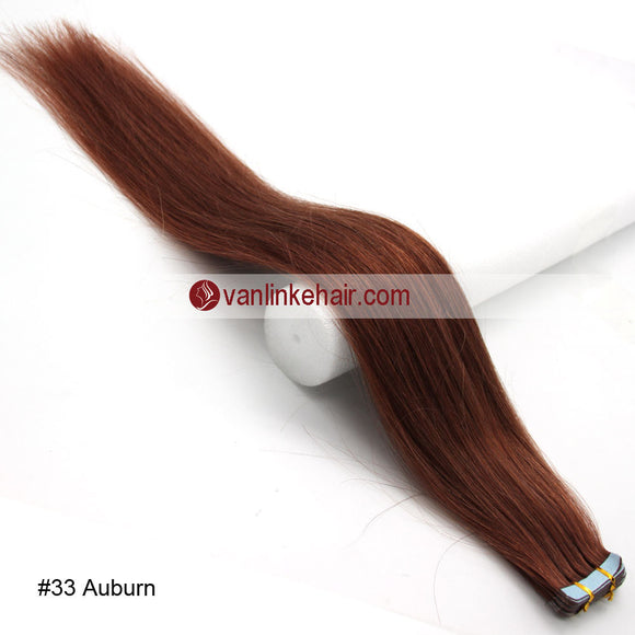 20pcs PU Seamless Skin Tape In Remy Human Hair Extensions Straight Dark Auburn(33#) - VANLINKE HUMAN HAIR EXTENSIONS
