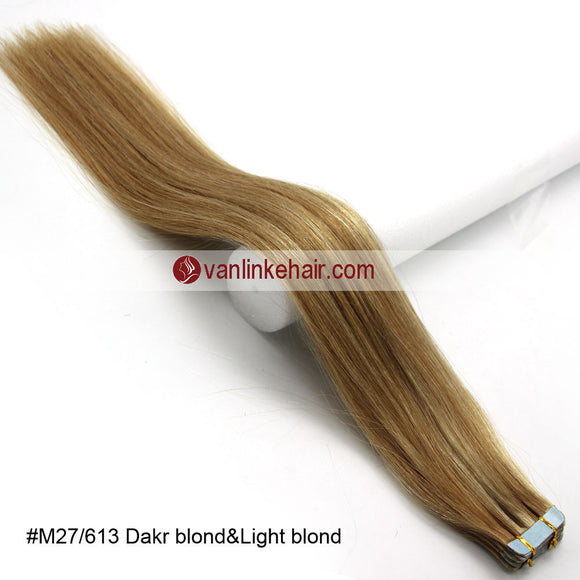 20pcs PU Seamless Skin Tape In Remy Human Hair Extensions Straight Dark Blonde/Light Blonde(27/613#) - VANLINKE HUMAN HAIR EXTENSIONS