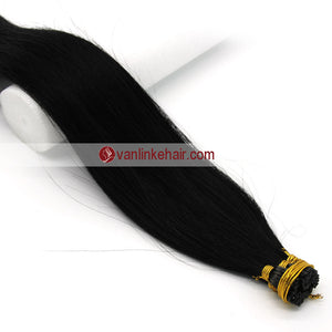 16-24Inches 100s Keratin Stick I Tip Human Hair Extensions Straight Jet Black(1#) - VANLINKE HUMAN HAIR EXTENSIONS