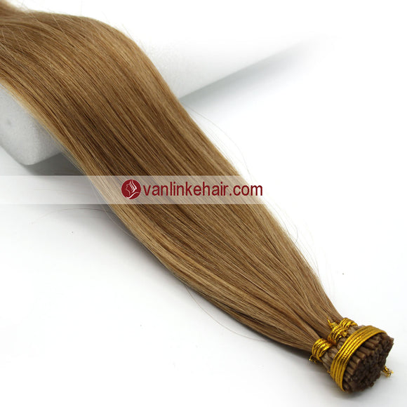 16-24Inches 100s Keratin Stick I Tip Human Hair Extensions Straight Dark Blonde(27#) - VANLINKE HUMAN HAIR EXTENSIONS