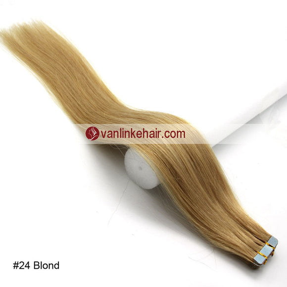 20pcs PU Seamless Skin Tape In Remy Human Hair Extensions Straight Blonde(24#) - VANLINKE HUMAN HAIR EXTENSIONS