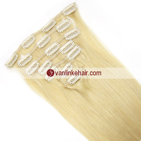 7PCS Full Head Clips on/in Remy Human Hair Extensions Straight Light Blonde(613#) - VANLINKE HUMAN HAIR EXTENSIONS