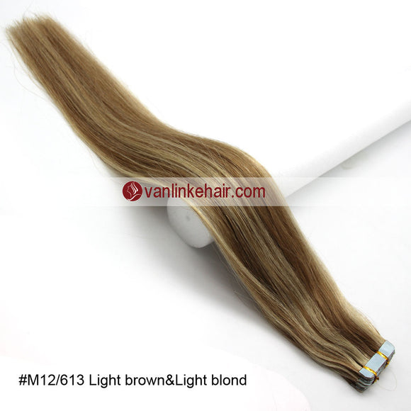 20pcs PU Seamless Skin Tape In Remy Human Hair Extensions Straight Light Brown/Light Blonde(12/613#) - VANLINKE HUMAN HAIR EXTENSIONS