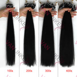 16-26inches 100s Easy Loop/Micro Ring Beads Tip Remy Human Hair Extensions Straight Jet Black(#1) - VANLINKE HUMAN HAIR EXTENSIONS