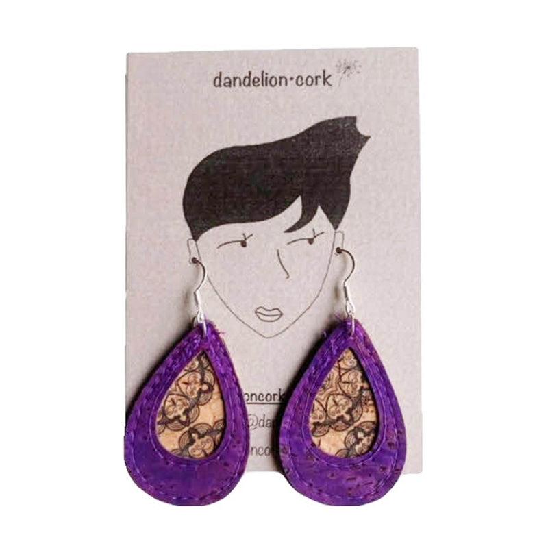 Elise Teardrop Cork Earrings (PURPLE) - UBU Swimwear