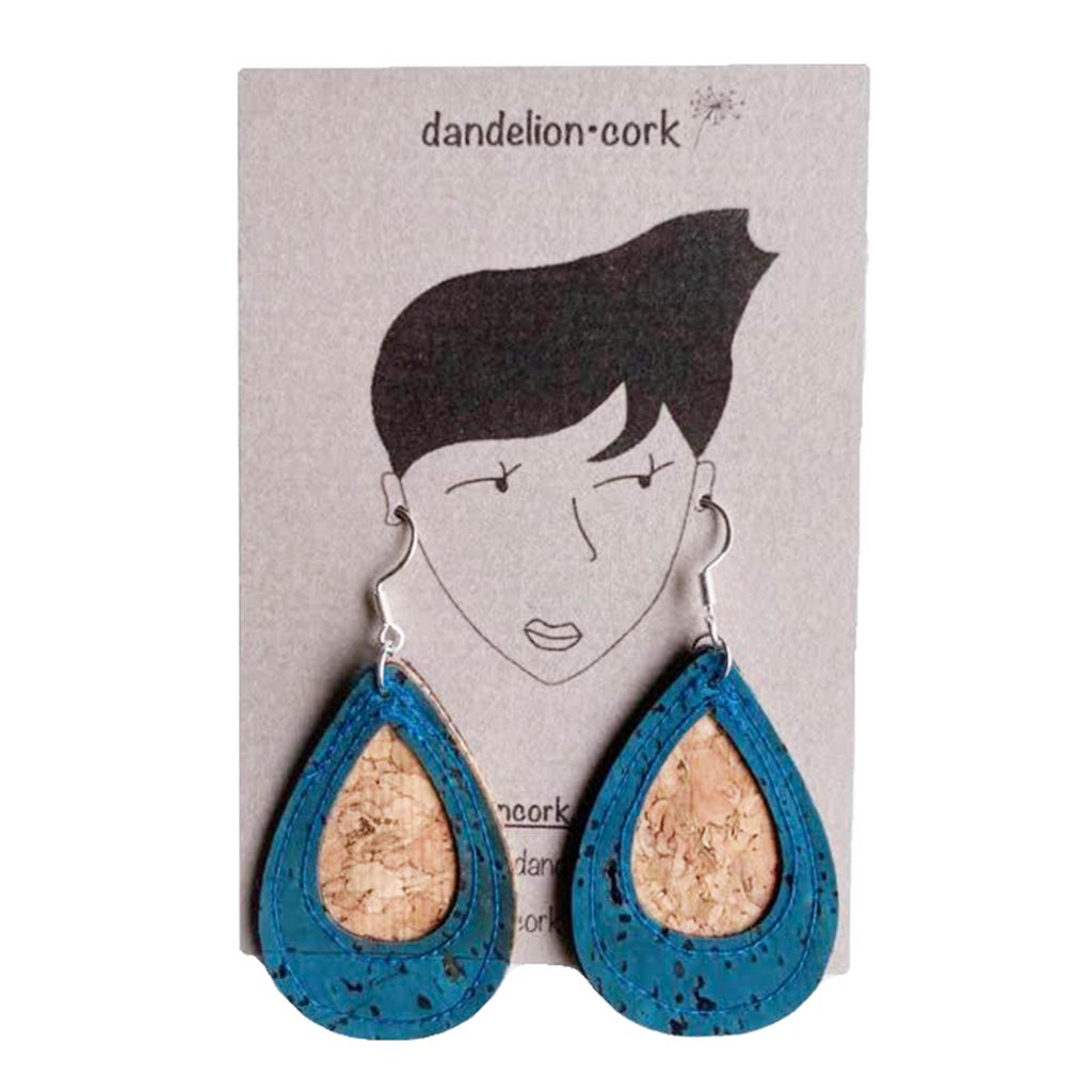 Elise Teardrop Cork Earrings (TEAL) - UBU Swimwear
