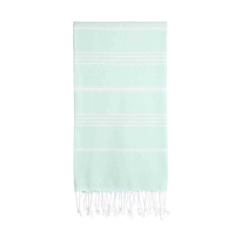 UBU Swimwear Aqua Light Blue Pure Turkish towel with classic white stripe and hand-knotted tassels