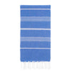 UBU Swimwear Blue Pure Turkish towel with classic white stripe  and hand-knotted tassels