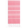 UBU Swimwear Light Candy Pink Pure Turkish towel with classic white stripe and hand-knotted tassels