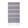 UBU Swimwear Dark Charcoal Grey Pure Turkish towel with classic white stripe  and hand-knotted tassels