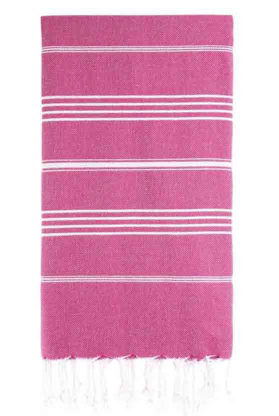UBU Swimwear Fuchsia Pink Pure Turkish towel with classic white stripe  and hand-knotted tassels