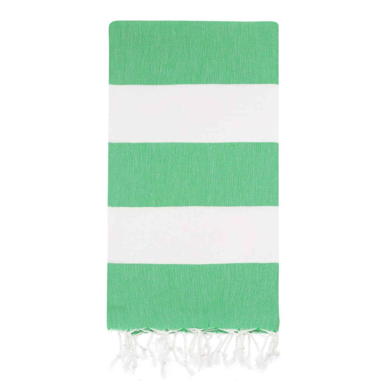 UBU Swimwear Large Striped Green and White Turkish Towel made with 100% Turkish Cotton