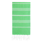 UBU Swimwear Green Pure Turkish towel with classic white stripe  and hand-knotted tassels