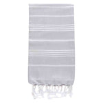 UBU Swimwear Light Grey Pure Turkish towel with classic white stripe  and hand-knotted tassels