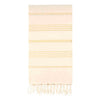UBU Swimwear Natural and Gold Pure Turkish towel with classic white stripe  and hand-knotted tassels