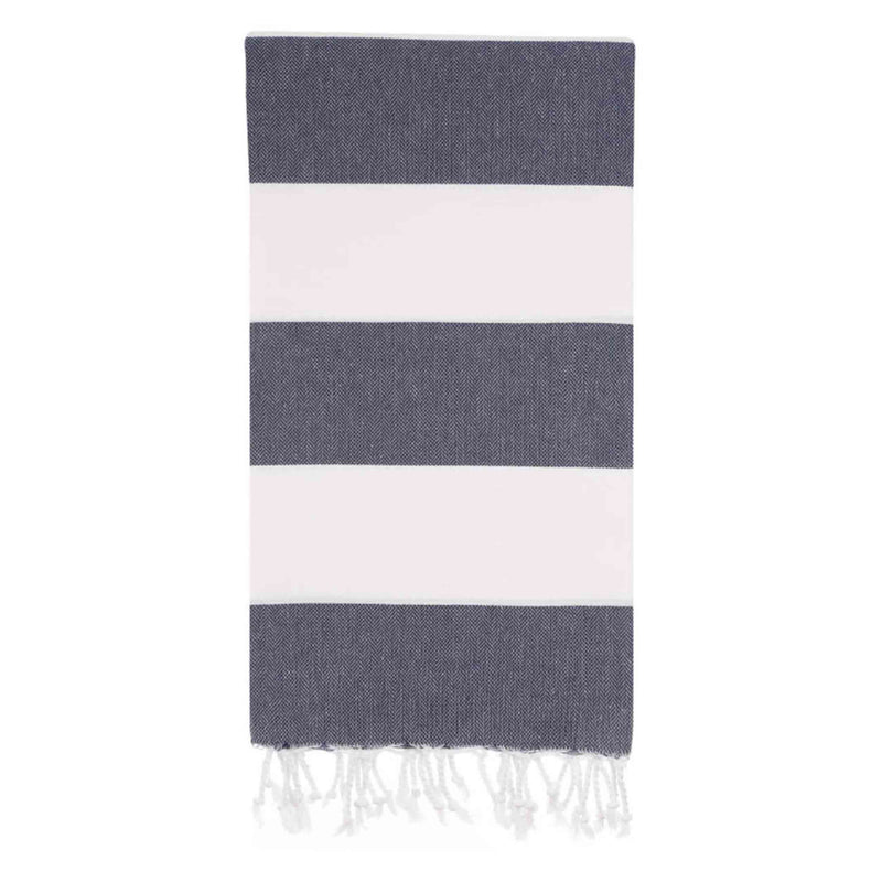 UBU Swimwear Large Striped Navy Blue and White Turkish Towel made with 100% Turkish Cotton