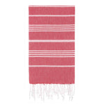 UBU Swimwear Red Pure Turkish towel with classic white stripe  and hand-knotted tassels