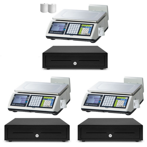 Retail POS System for Butchers & Fruit Shops with 3 x CAS CT-100 Receipt Printing Weighing Scale - EasyPOS