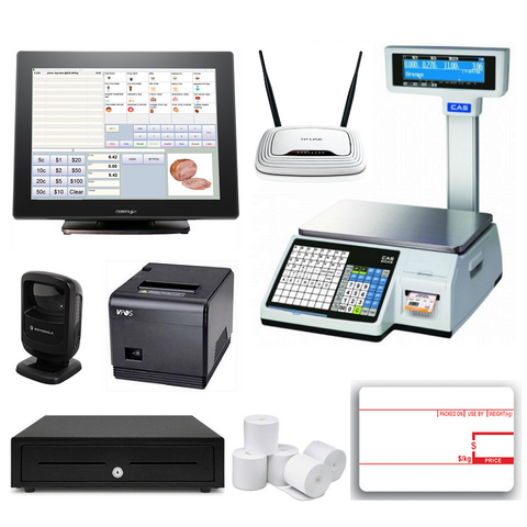 Retail POS System with CAS CL-5200 Label Scale & Posiflex XT-3815 - EasyPOS