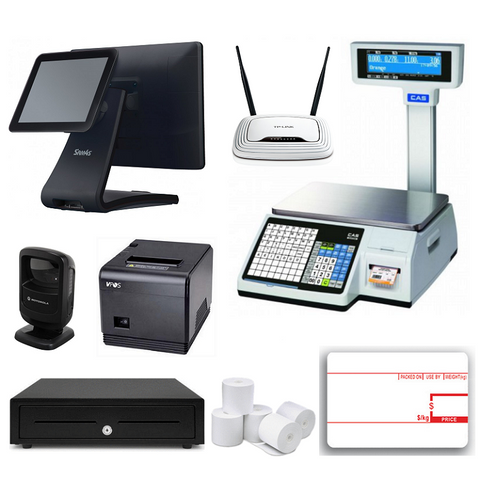 Retail POS System with CAS CL-5200 Label Printing Scale & SAM4S Titan - EasyPOS