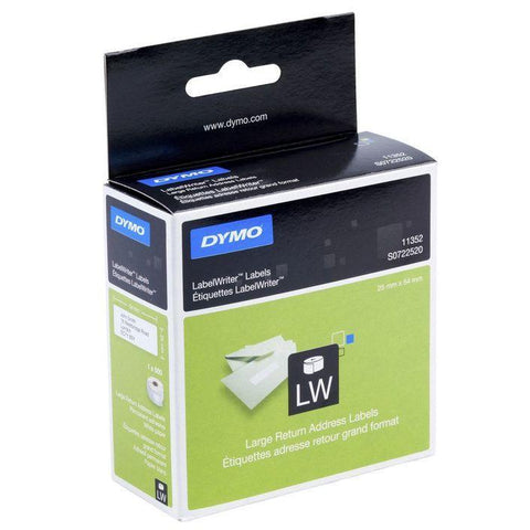 Dymo Label Writer Labels - Return Address Labels 25mm X 54mm Qty 500 Permanent Paper Adhesion - Easypos Point of Sale Systems