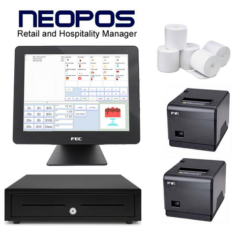NeoPOS Retail and Hospitality Manager with the FEC AerPPC PP1635 Touch POS Terminal Bundle #19 - Easypos Point of Sale Systems