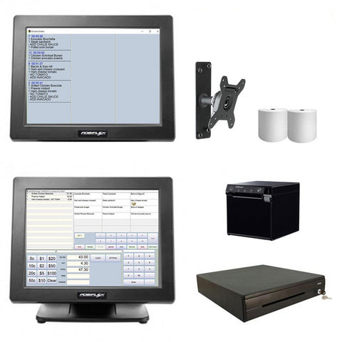 NeoPOS Hospitality Manager - Posiflex POS Hardware with Kitchen Display Bundle #16 - Easypos Point of Sale Systems