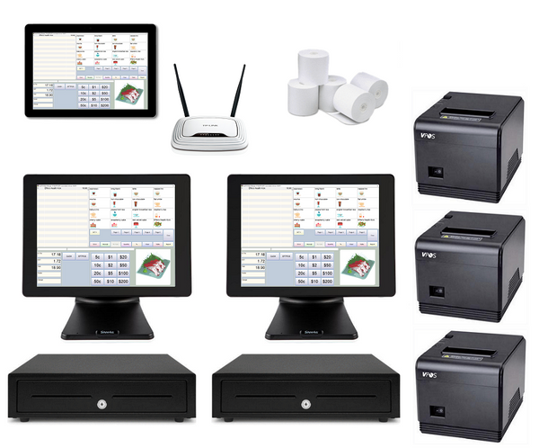 Restaurant POS System with two POS Terminals & one Windows Tablets Bundle #105