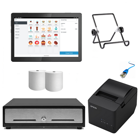 Square Android Kit with Cash Drawer, Ethernet Printer and Android Tablet Bundle S25