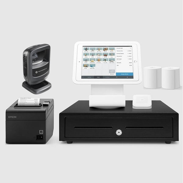 Square Stand Retail POS System for iPad with the Zebra DS9208 Barcode Scanner Bundle #19 Large Drawer